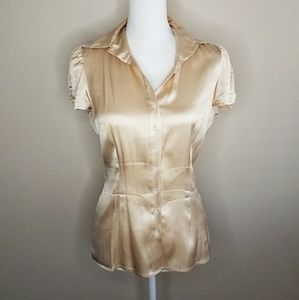 Bebe Silk Dusty Peach Button Up Blouse Short Sleev